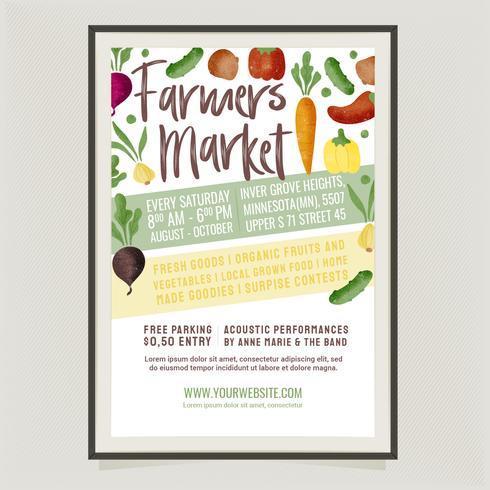 Vector boerenmarkt poster sjabloon