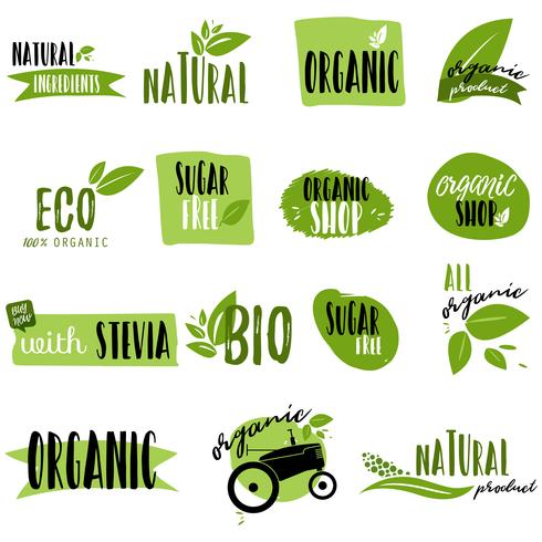 Stickers and badges for organic food and drink vector