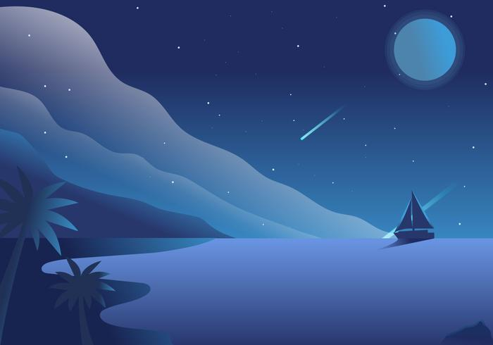 Night View Ocean Vector Background Illustration