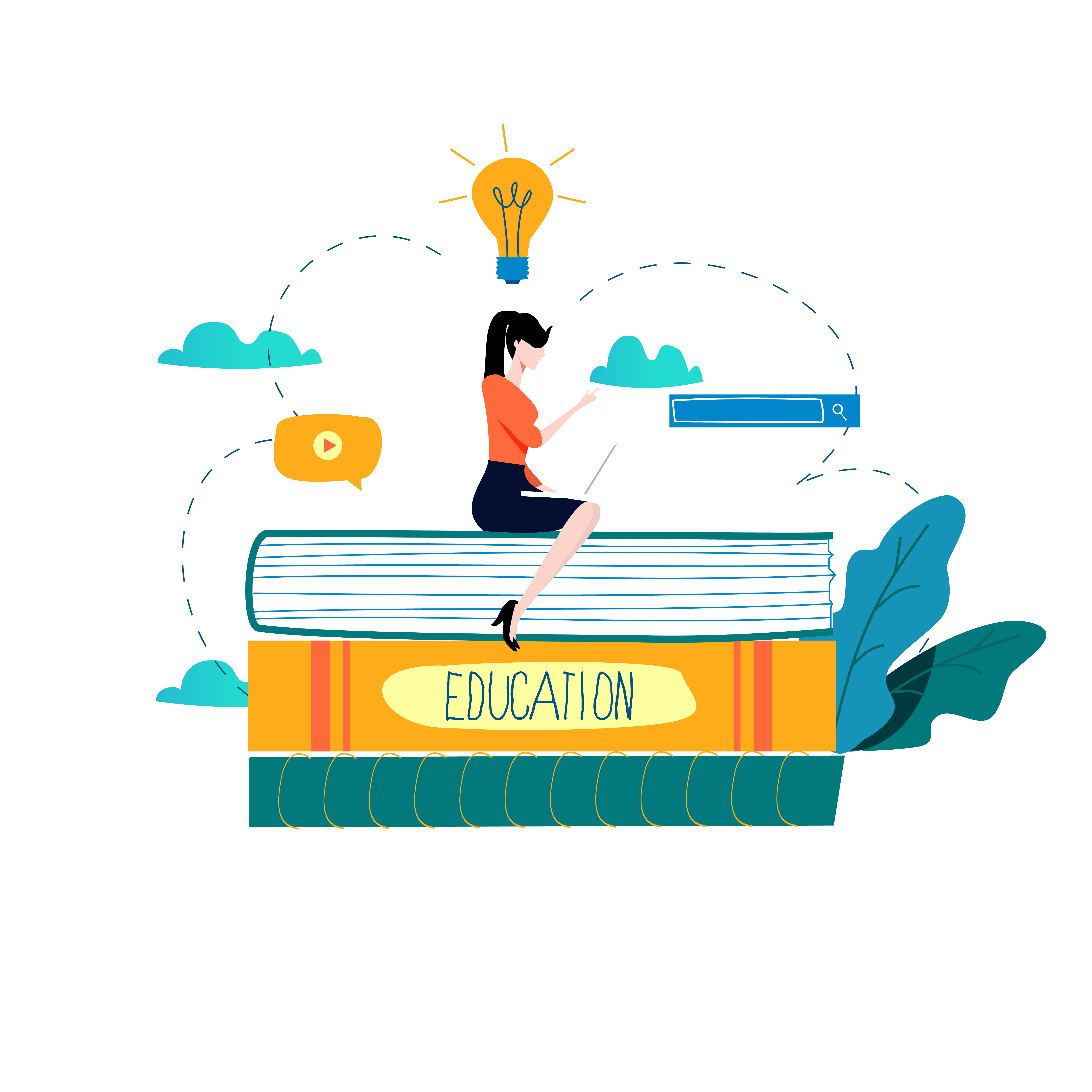 Education, online training courses, distance education flat vector illustration - Download Free ...