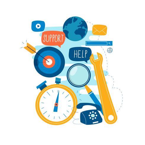 Service à la clientèle, assistance à la clientèle, conception illustration vectorielle plate opérateur opérateur