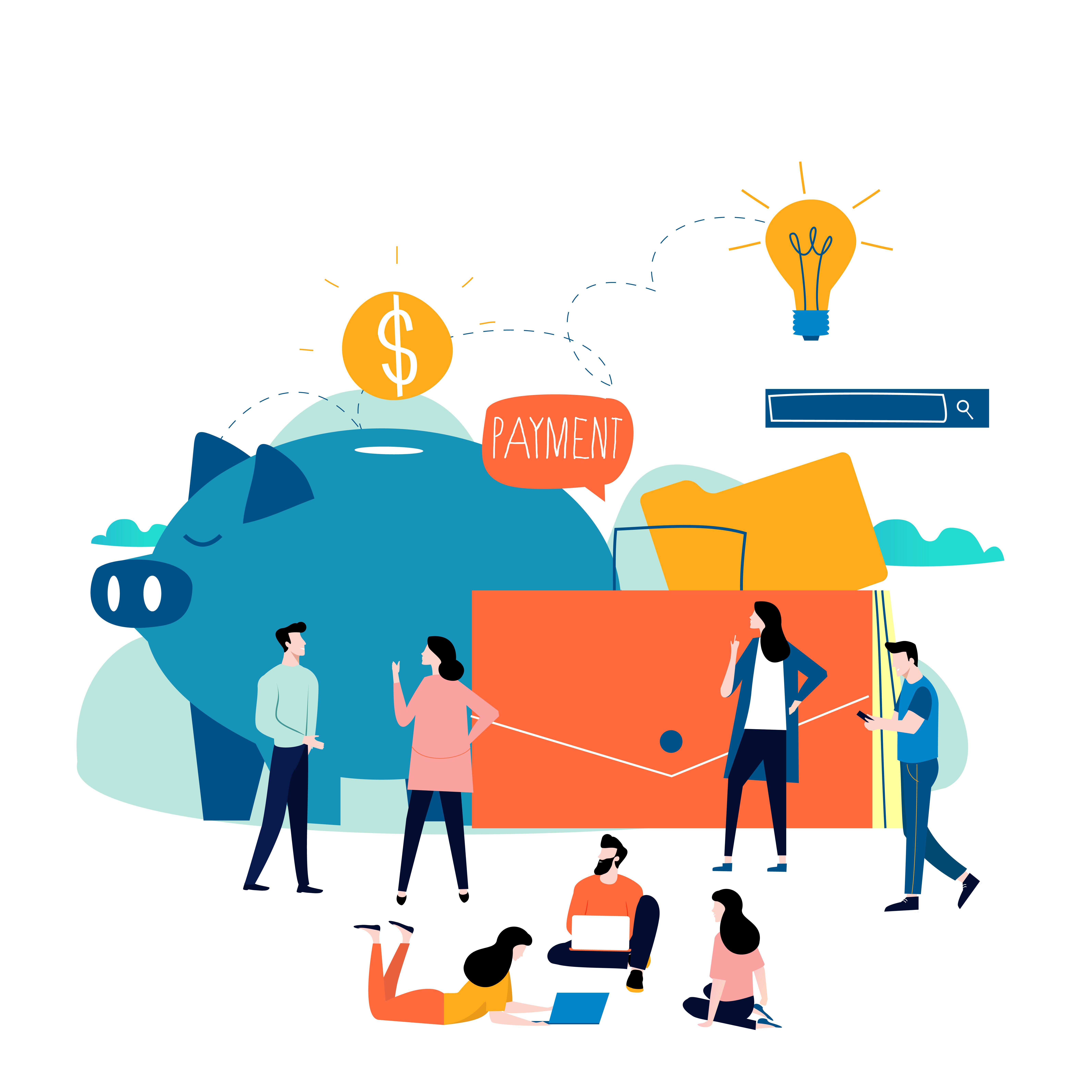 Vector Illustration Web Designs: Business And Finance Services, Money Loan, Budget Planning