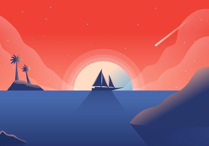 Ilustración del vector del fondo del océano de la puesta del sol
