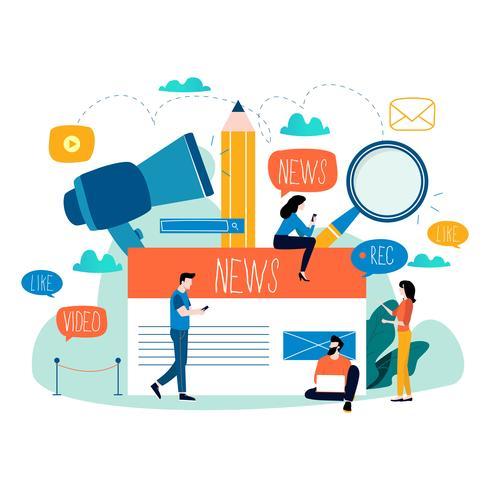 Nachrichtenaktualisierung, Onlinenachrichten, Zeitung, flache Vektorillustration der Nachrichtensite vektor