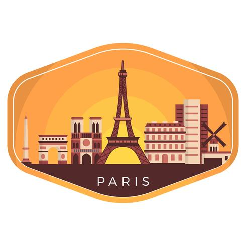 Paesaggio piano della città di Parigi sull'illustrazione di vettore del distintivo