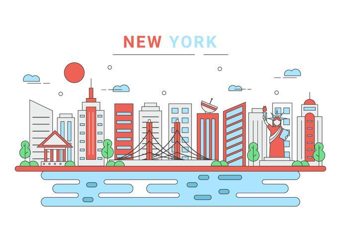 New York City Skyline Vector Download Free Vector Art Stock
