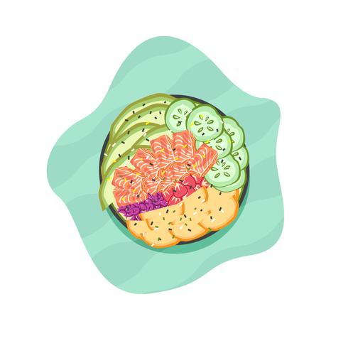 poke bowl vektor illustration