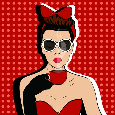 Meisje met kop van koffie pop-art retro stijl