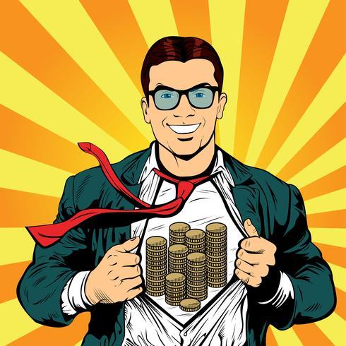 Super hero male businessman pop art retro illustration vector