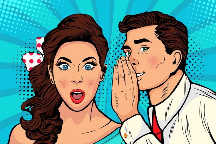 Homem sussurrando fofoca ou garota secreta vetor