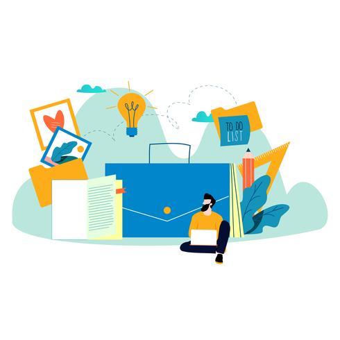 Carrera freelance, diseñador gráfico, trabajo freelance. vector