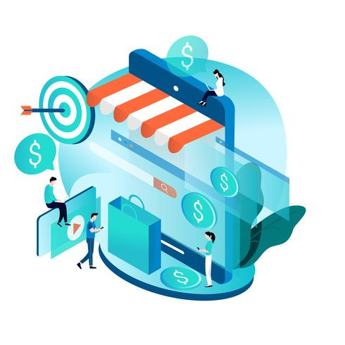 Modern isometric concept for online shopping