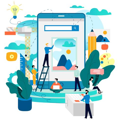 Mobile application development process vector