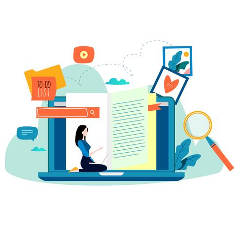 Educación, cursos de formación online. vector