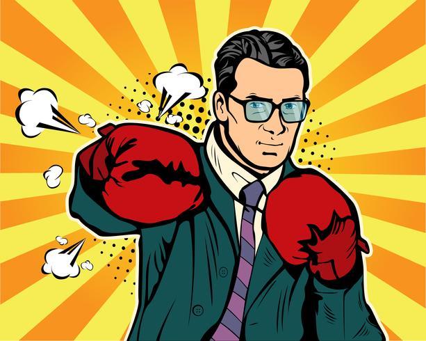 Hombre en estilo de pop art de guantes de boxeo