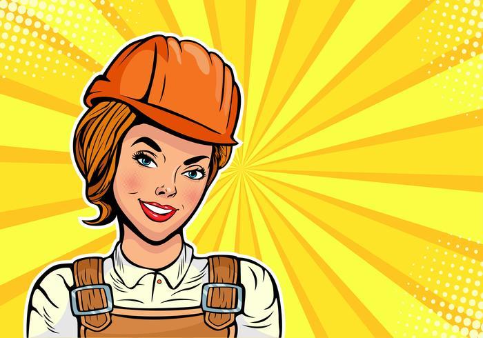 Woman Builder Pop Art Style