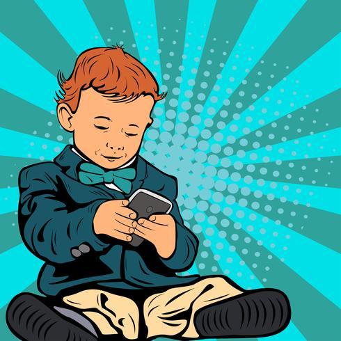 Bambino su Smartphone Pop Art Style vettore