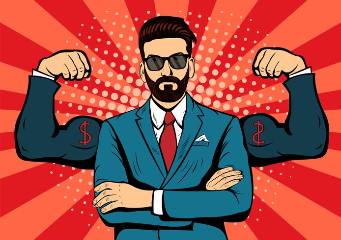 Empresário de barba hipster com músculos pop art estilo retro