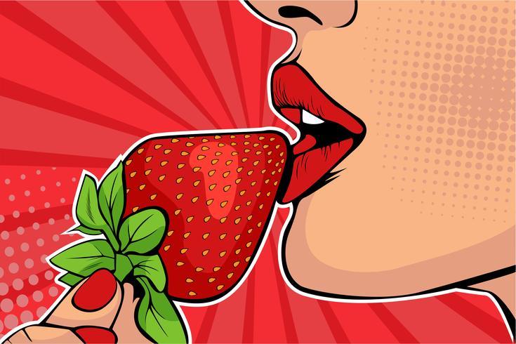 Labios de chicas con fresa vector