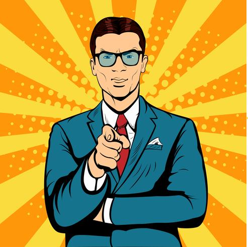 Businessman pointing finger pop art retro vector