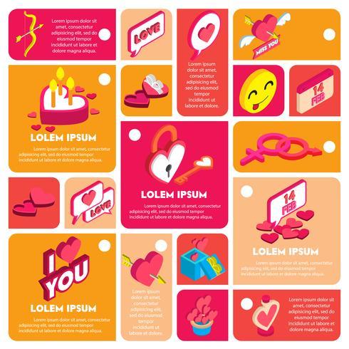 Ilustración del concepto de información gráfica de San Valentín icono vector