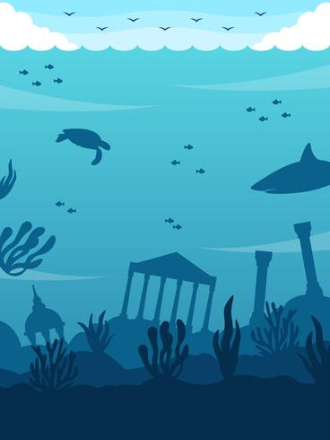 Vettore impressionante del fondo dell'oceano