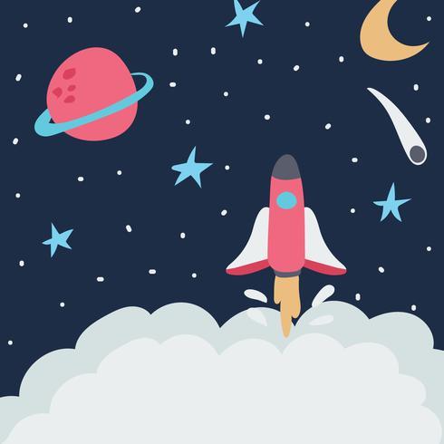 Cohete despegando a la galaxia vector