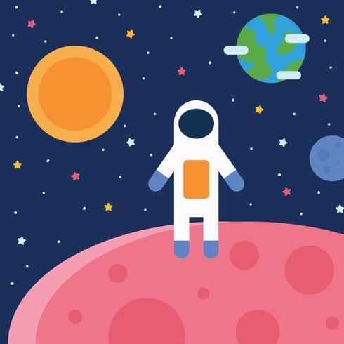 Space Boy aterrizando en otro planeta vector