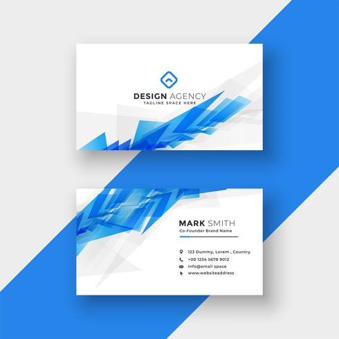 modèle de conception de carte de visite forme abstraite bleue