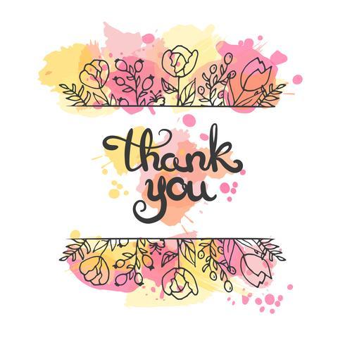 Tarjeta de agradecimiento. Dibujado a mano diseño de letras Tarjeta de felicitación