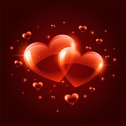 Fondo de corazones de día de San Valentín brillante dos