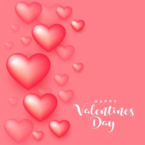 cuori morbidi di stile 3d su sfondo rosa per San Valentino