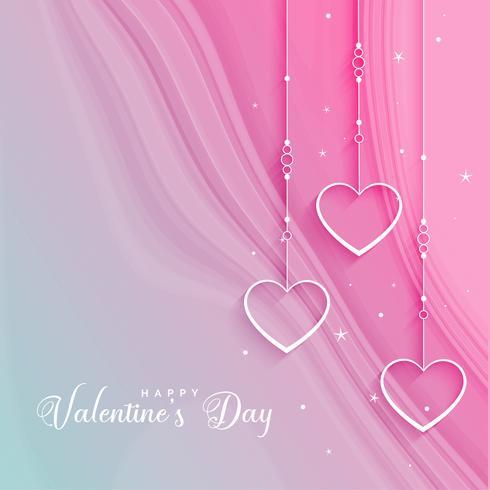 hermoso día de San Valentín saludo con corazones colgantes