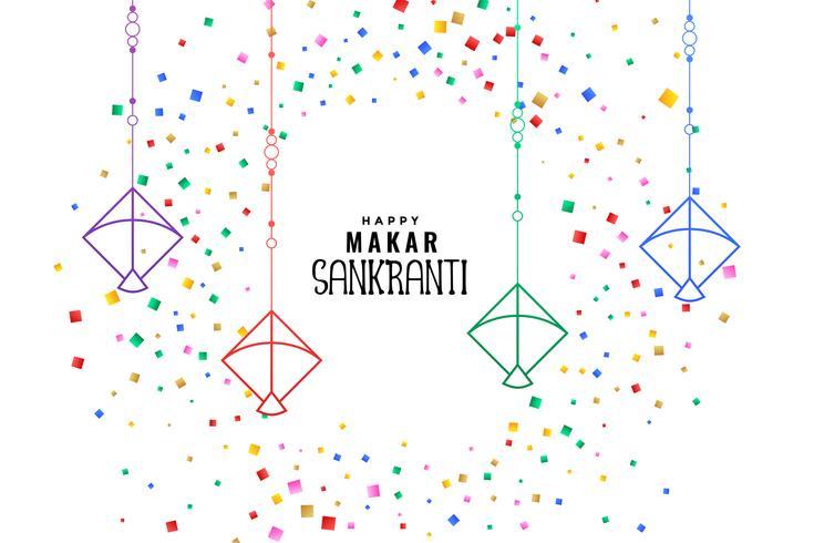 Makar sankranti cometas con fondo de confeti colorido