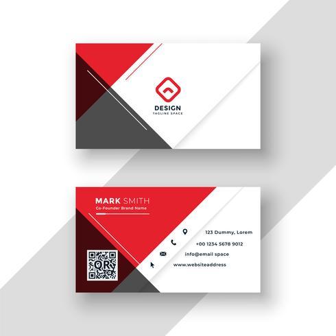 design de modelo de cartão de visita vermelho mínimo