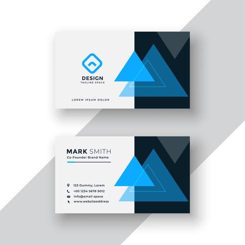 modern minimaal blauw visitekaartjeontwerp met driehoeksvormen