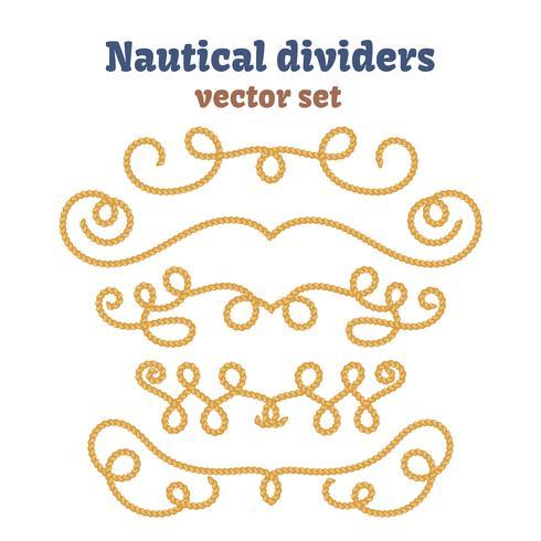 Cuerdas náuticas. Set divisores. Nudos decorativos del vector.