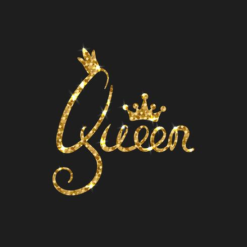Queen golden text for card. Modern brush calligraphy.