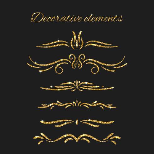 Bordes dibujados a mano decorativos brillantes con efecto brillo. vector