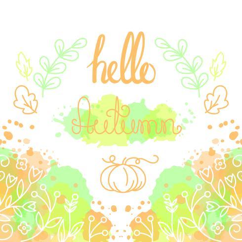 Hola tarjeta de otoño con letras. vector
