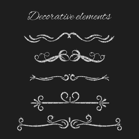 Silver Ornamental decorative elements set vector