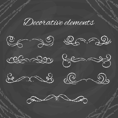 Hand drawn Chalk dividers on blackboard vector
