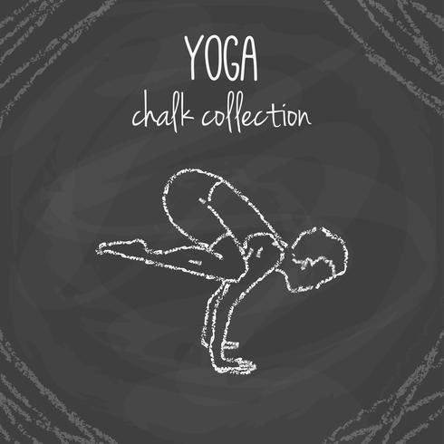 Chalk yoga pose illustrations on blackboard
