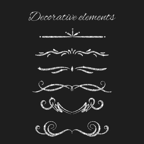 Ornamental decorative elements set