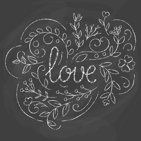 Carta di amore Disegno di lettering disegnato a mano. vettore