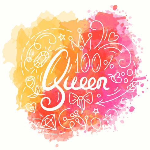 Conception de la typographie de la reine. Lettrage imprimé pour t-shirt.