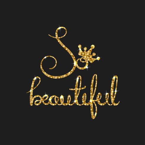 Queen golden text for card. Moderna calligrafia pennello vettore