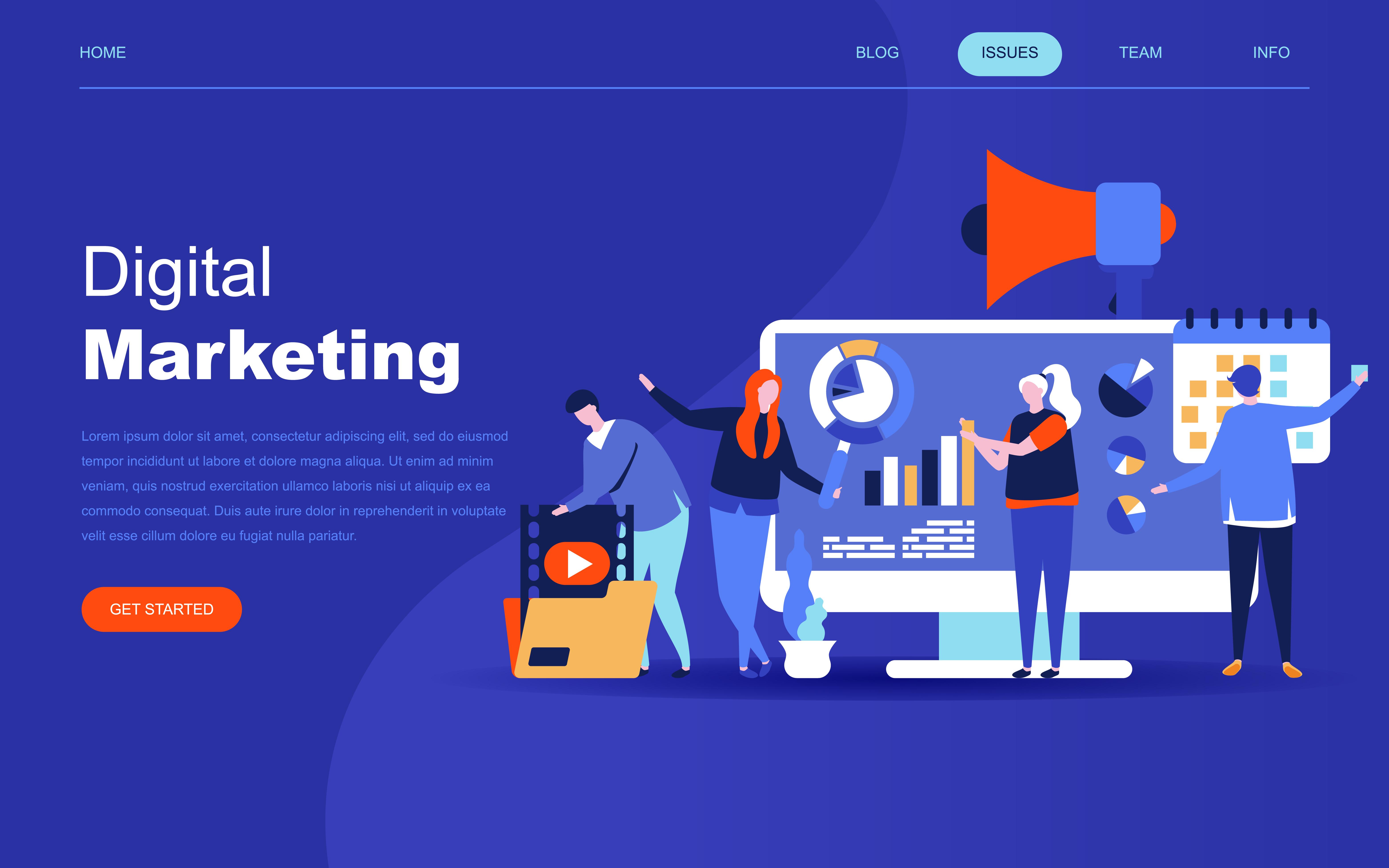 Modern flat design concept of Digital Marketing - Download ...