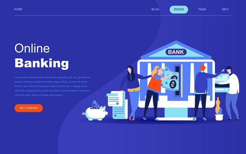 Concept de design plat moderne de la banque en ligne