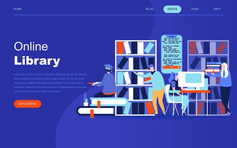 Modern plat ontwerpconcept van onlinebibliotheek voor website